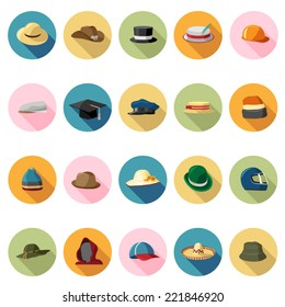 Hat icons set in flat design with long shadow. Illustration eps10