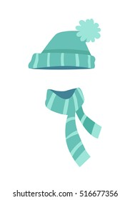 Hat. Knitted modern hat and twisted scarf with white stripes. Winter sport hat in triangle shape and scarf along. Two different endings of scarf. Flat design. White background. Vector illustration.