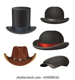 Hat for men set isolated on white vector illustration