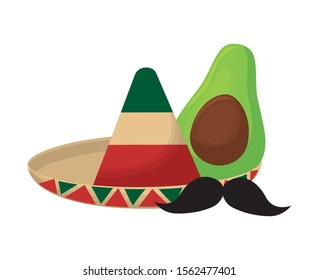hat mexican with avocado and moustache vector illustration design