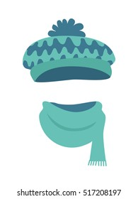 Hat. Modern warm blue-green hat and long scarf. Contemporary headwear t with many colourful waves. Soft bright scarf with short lines on white background and flat design. Vector illustration