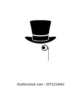 hat and monocle icon. Element of theater and art illustration. Premium quality graphic design icon. Signs and symbols collection icon for websites, web design, mobile app on white background