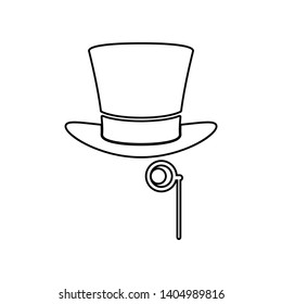 hat and monocle icon. Element of Theatre for mobile concept and web apps icon. Outline, thin line icon for website design and development, app development
