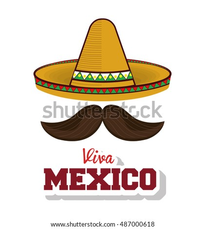 25bcc2d3e23a5 Hat Moustache Mexican Symbol Viva Mexico Vector de stock (libre de ...