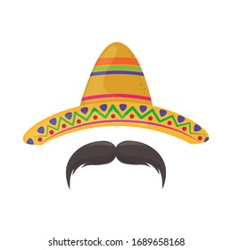 hat and mustache . Cinco de Mayo mexican celebration vector illustration, flat style icon.