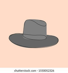 Hat. One line drawing. Line art.