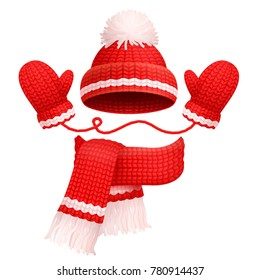 Hat with pompom and scarf with mittens of red color, traditional winter set, warm clothes, vector illustration, isolated on white background