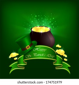 Hat, pot with leprechauns gold and ribbon on green background, illustration.