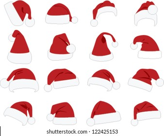 Hat of santa claus on white bottom
