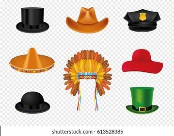 Hat set with black cylinder hat, Mexican sombrero, Cowboy, Indian Headdress with feathers, police,  Patrick and woman hat.