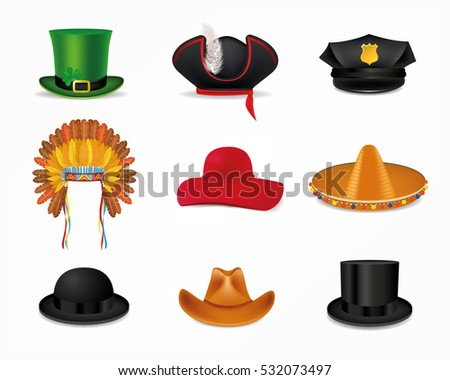 Hat Set Black Cylinder Mexican Sombrero Stock Vector (Royalty Free ... 902136c19ef