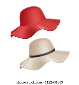 Hat set female women woman summer red and beige vector realistic illustration isolated on white background