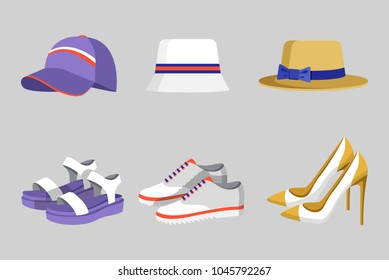 Hat and shoes for women, summer collection and mode, hats and footwear on heels, flat footgear, set vector illustration, isolated on grey background