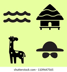 Hat and sunglasses, sea waves and hut related icon set