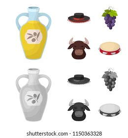 The hat of the todeador, the matador, a bunch of grapes with fists, a bull for the Spanish bullfight, a tambourine. Spain country set collection icons in cartoon,monochrome style vector symbol stock