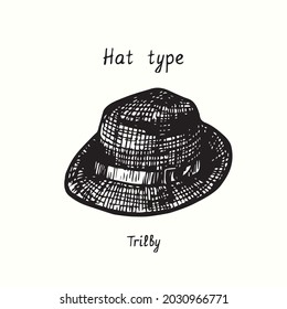 Hat type, Trilby. Ink black and white drawing outline illustration