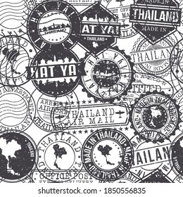 Hat Yai District, Songkhla, Thailand Pattern of Stamps. Travel Passport Stamps. Made In Product. Design Seals in Old Style Insignia Seamless. Icon Clip Art Vector Collection.