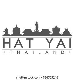 Hat Yai Thailand Asia Skyline Silhouette Design City Vector Art Famous Buildings.