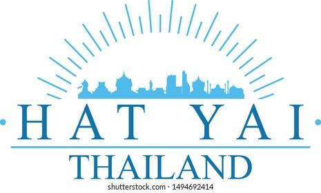 Hat Yai Thailand City. Banner Design. City Skyline. Silhouette Vector. Famous Monuments.
