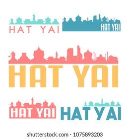 Hat Yai Thailand Flat Icon Skyline Vector Silhouette Design Set Logo.