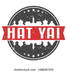 Hat Yai Thailand Round Travel Stamp. Icon Skyline City Design. Seal Tourism.