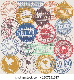 Hat Yai Thailand Set of Stamps. Travel Stamp. Made In Product. Design Seals Old Style Insignia.