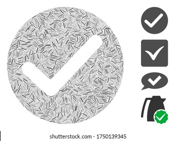 Hatch collage apply icon united from straight items in various sizes and color hues. Line elements are united into abstract vector collage apply icon. Bonus icons are placed.