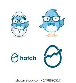 hatch egg business logo design template with cute bird caracter