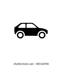Hatchback Car. Black simple vector icon
