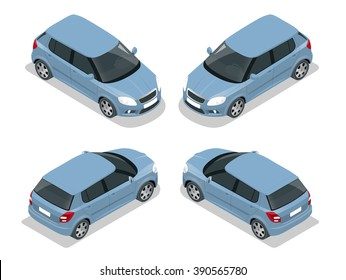 Hatchback car high quality city vehicle. Urban transport. Can be used for advertisement, infographics game or mobile apps icon.