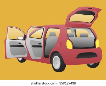 hatchback car that open doors and rear hatch, vector illustration