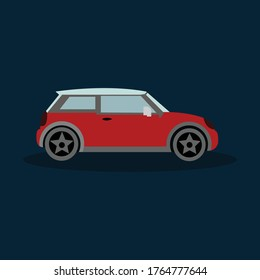 Hatchback mini car icon on blue background
