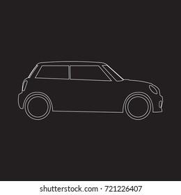 Hatchback mini car icon on black background