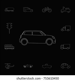 Hatchback mini car icon. Set of car icons. Web Icons Premium quality graphic design. Signs, outline symbols collection, simple icons for websites, web design, mobile app on black background