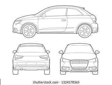hatchback outline drawing