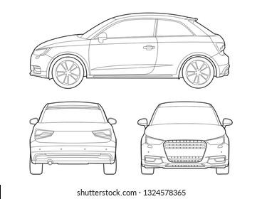 hatchback outline drawing. Audi A1.