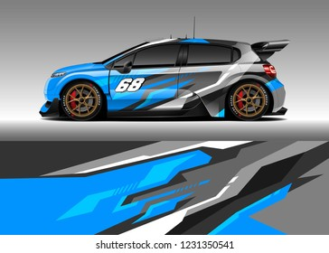 Hatchback racing car wrap design vector. Graphic abstract stripe racing background kit designs for wrap vehicle, race car, rally, adventure and livery