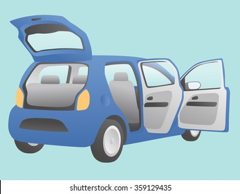 hatchback vehicle that open doors and rear hatch, vector illustration