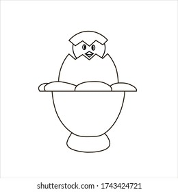 Hatching chick peeks out of egg. Opened white egg with broken shell on egg stand isolated vector illustration. Eggshell fragile broken, open and cracked oval egg. Outline drawing. Black contour.