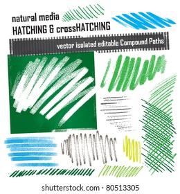 hatching elements set - natural media grunge structures