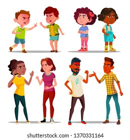 Hate, Anger Management, Arguing People Vector Set. Hate Control, Aggressive Behavior. Angry Children and Adults Quarrel Cartoon Characters. Unhealthy Relationship. Family Conflict Flat Illustrations