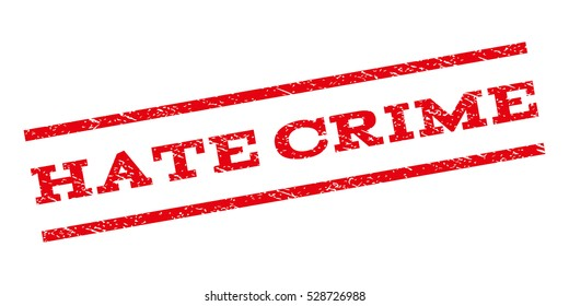 Hate Crime watermark stamp. Text caption between parallel lines with grunge design style. Rubber seal stamp with scratched texture. Vector red color ink imprint on a white background.