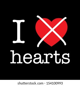 i hate hearts, funny vector font type concept, black background