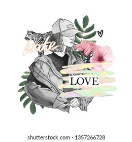 Hate love slogan with girl and rose with leopard illustration