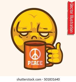I hate morning. Funny face - sad emoticon. T-shirt print. Vector illustration.