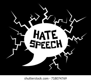 Hate speech - destructive dialogue bubble as metaphor of violent, offensive and harmful talking and speaking. Vector illustration of verbal attack, assault and insult
