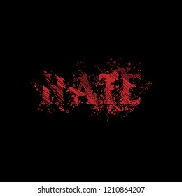 hate text stock vector. horor style. red grunge font
