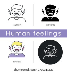Hatred icon. Man aggressively shout. Person yell from irritation. Negative intense emotion. Crisis and conflict. Emotional outburst. Linear black and RGB color styles. Isolated vector illustrations