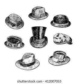 Hats collection, with Fedora, Homburg-hat, Bowler, cowboy, Porkpie, top, Boater, Campaign, Stingy Brim. Hand drawn vector