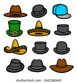 Hats collection set. Collection icon hat. Vector